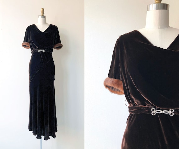 Contralto silk velvet dress | 1930s dress | silk v