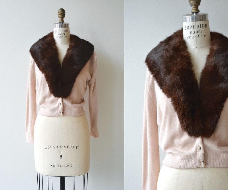 Sable collar cardigan  1950s fur collar sweater  vintage 50s image 0
