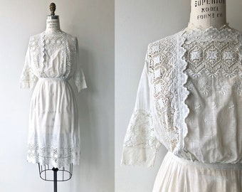 Bolton Road dress | 1910s Edwardian dress | white cotton antique dress