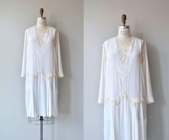 Ars Poetica silk dress   vintage 1920s dress   whi