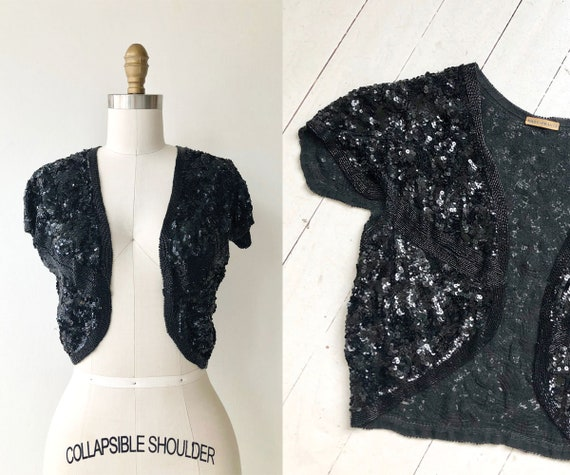 Odeon sequin bolero | 1930s cropped jacket | vinta