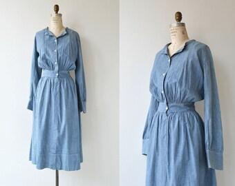 Landsown dress   1910s Edwardian chore dress   antique chambray dress