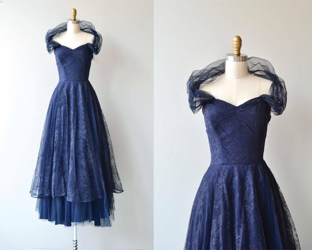 Cotillion Dress Vintage 1930s Dress Navy Lace 30s Dress