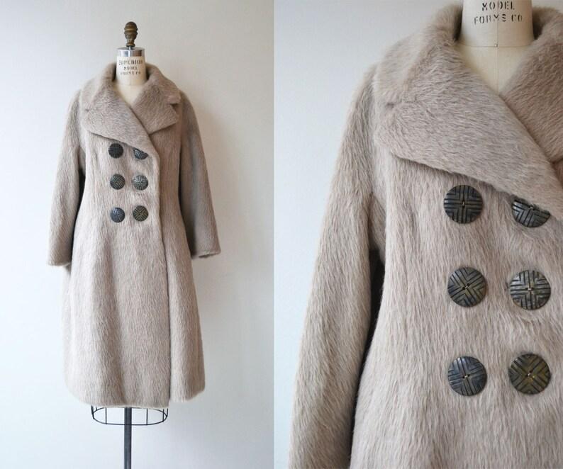 Greige Mohair coat  1960s mohair coat  gray wool 60s coat image 0