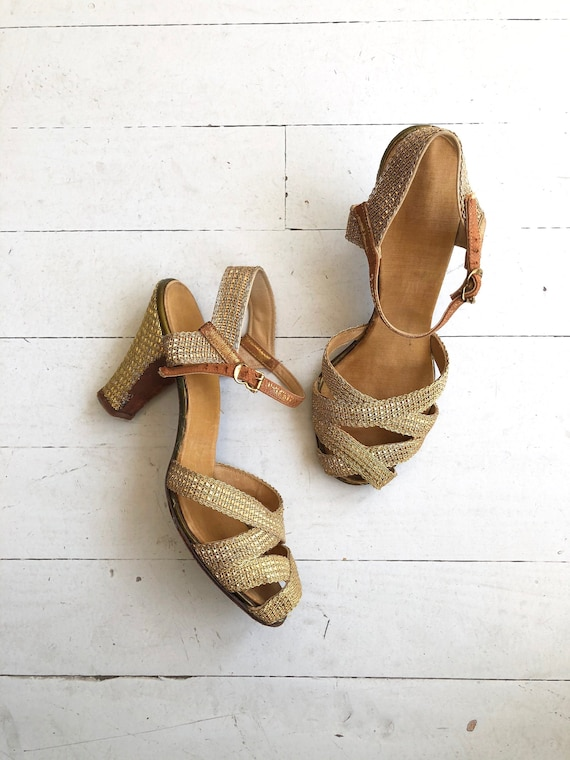 Gold Mesh heels | 1930s shoes | vintage 30s shoes