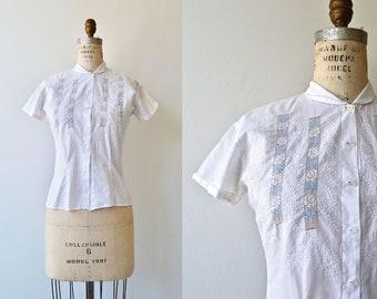 June July blouse | vintage 1950s blouse | white cotton 50s blouse