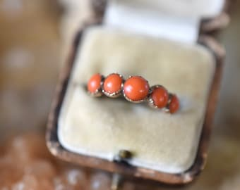Antique Georgian half hoop ring | 1805 coral ring | antique coral ring