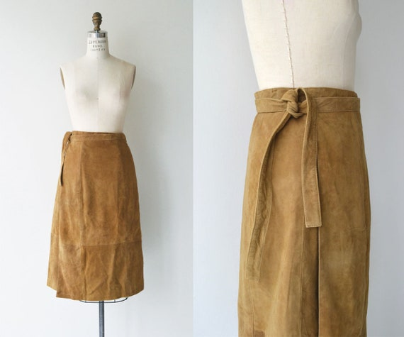 J Peterman wrap skirt | suede wrap skirt | vintage