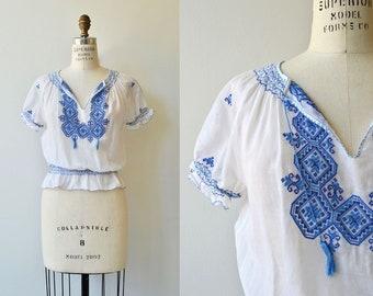 Sibiu blouse | 1930s peasant blouse | cotton gauze embroidered 30s folk blouse