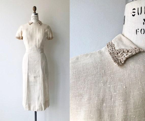 Vellin linen dress | 1950s dress | linen 50s dress