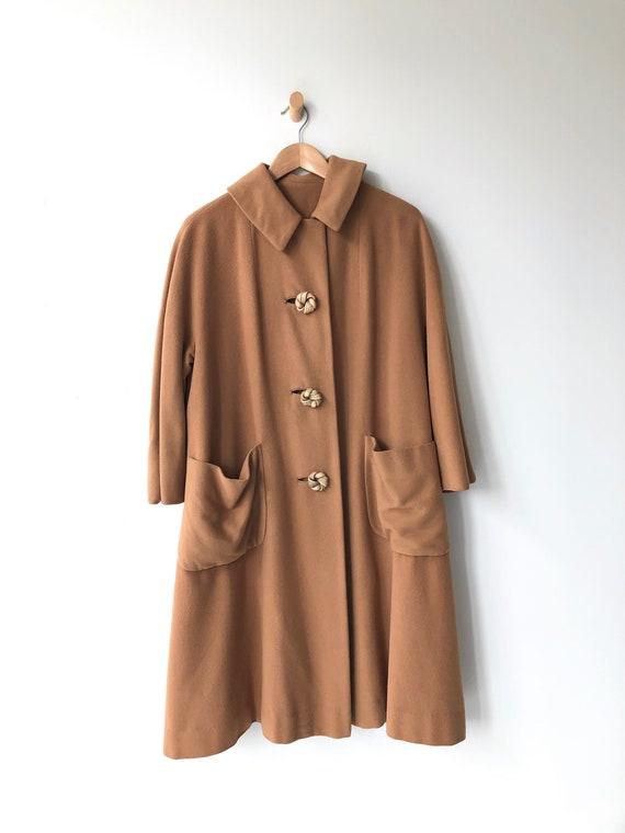 Toffee cashmere coat | 1950s swing coat | vintage… - image 8