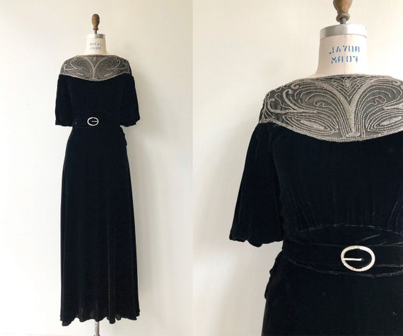 Cadenza silk velvet dress   1930s velvet dress   l