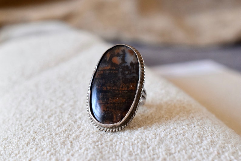 North Pointe agate ring  1960s sterling silver agate ring  image 0