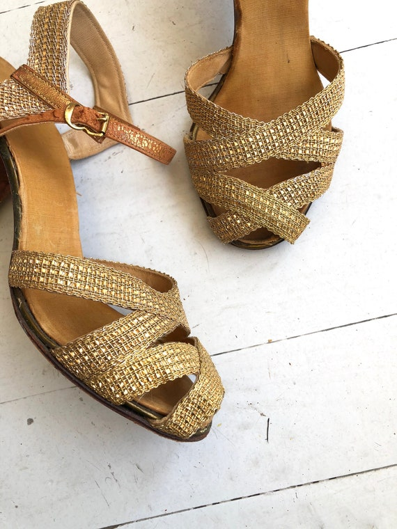 Gold Mesh heels | 1930s shoes | vintage 30s shoes - image 2
