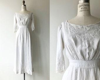 Caldecott Cottage dress | 1910s Edwardian dress | white antique dress