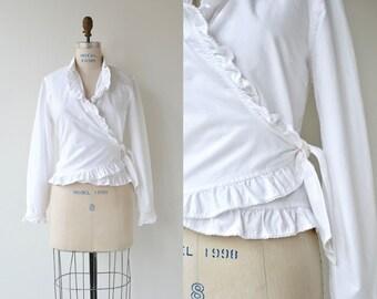 Ralph Lauren wrap blouse | white cotton wrap top | ruffled blouse