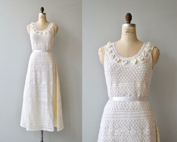 Inner Light crochet wedding gown | vintage 1970s c