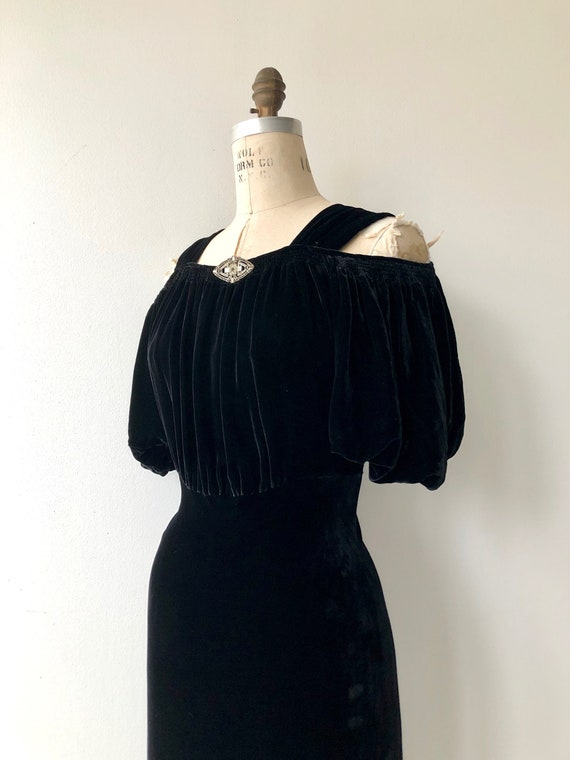 Aphaea silk velvet gown | 1930s silk velvet dress… - image 3
