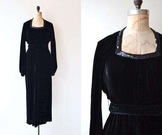 Solemn Oath dress   1930s dress   silk velvet 30s