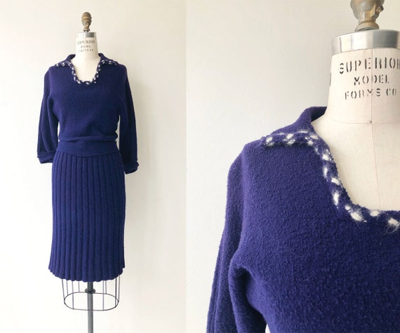 Indigo knit dress   1950s wool knit dress   50s kn