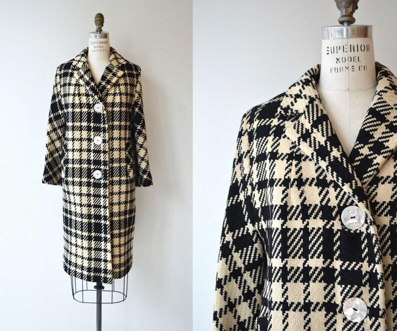The Strand coat  1950s plaid wool coat  wool plaid 50s coat image 0
