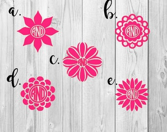 Flower Monogram Sticker // Sunflower Vinyl Car Window Decal // Daisy Accessory //  Monogram Decal // Laptop Tag // with Letter Initials
