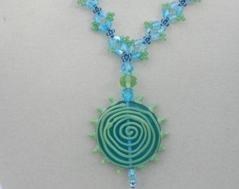 Aqua and Green Pendant Necklace