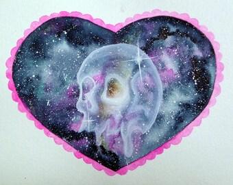 Creepy Cute Glass Skull Original Watercolor Art (5x7)