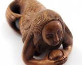 Mermaid Looking at Pearl Japanese Hand Carved Boxwood Netsuke Bead