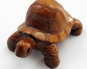 Tortoise Hand-Carved Boxwood Netsuke Bead