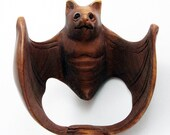 Bat with Wings Spread Hand-Carved Boxwood Netsuke 1-5 8 quot Wide Bead