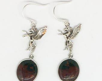 Pegasus Bloodstone Oval Sterling Silver Dangle Earrings