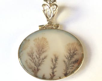 Dendrite Agate Horizontal Oval Sterling Silver Frame Pendant - translucent and amazing!