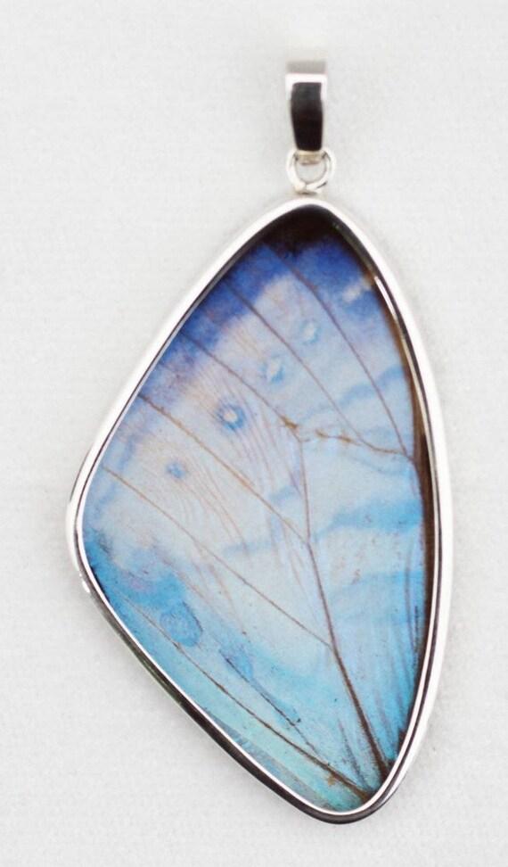 Pearl Blue Morpho Butterfly Wing XXL Pendant