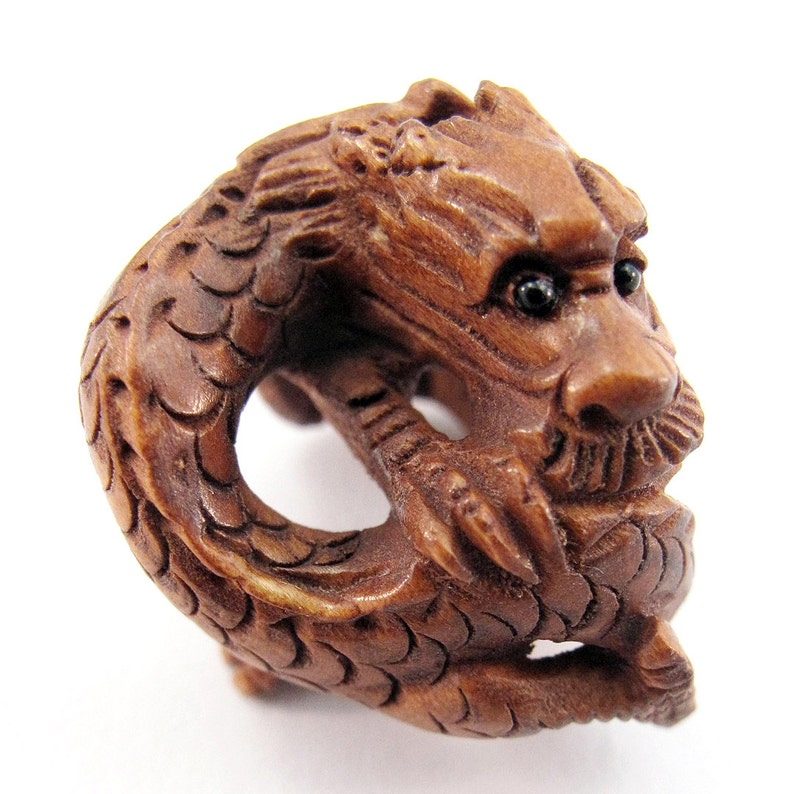 Coiling Dragon Hand-Carved Boxwood Ojime Bead