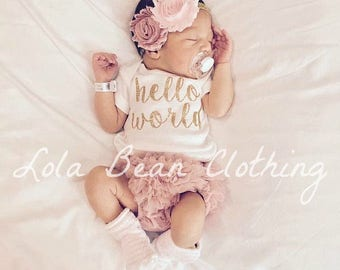 811900535ed7d Hello World Take Home Outfit Baby Girl Coming Home Outfit Newborn Outfit