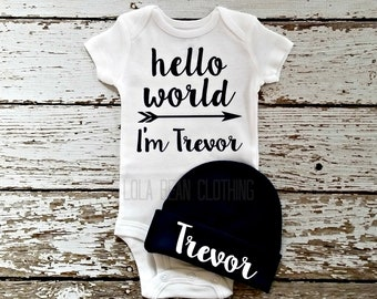 d1c64cdf6 Baby Boy Coming Home Outfit Newborn Hello World Bodysuit Grey