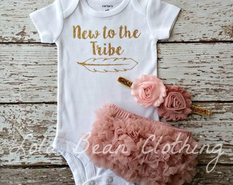 Baby Girl Take Home Outfit Newborn New to the Tribe Bodysuit Bloomers Headband Set Dusty Rose