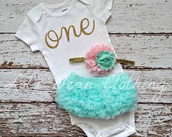 Baby Girl First Birthday Outfit \\ Pink Mint Gold \\ One Birthday Outfit \\ 1st Birthday Outfit \\ Cake Smash Outfit
