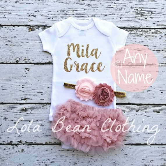 973bd038b5eb Personalized Gift Baby Girl Coming Home Outfit Newborn Girl