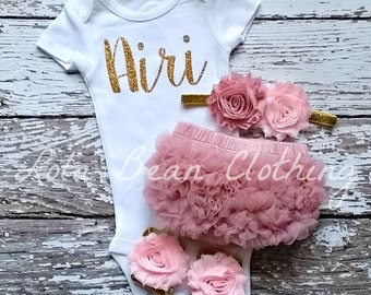 Baby Girl Coming Home Outfit Newborn Custom Bodysuit Bloomers Headband Sandals Set Dusty Rose Pink