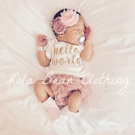 f9f777ac6 Hello World Take Home Outfit Baby Girl Coming Home Outfit | Etsy