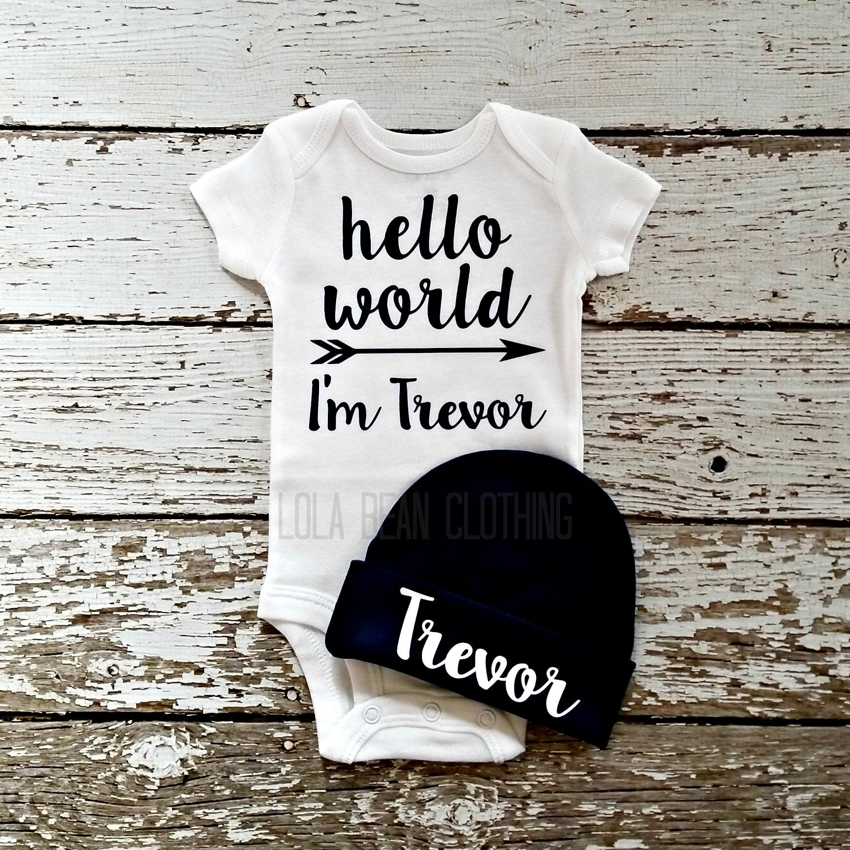 9a4012d8c Baby Boy Coming Home Outfit Newborn Hello World Bodysuit Custom ...