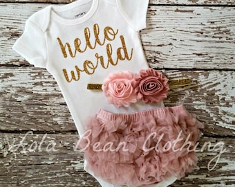 Baby Girl Coming Home Outfit Take Home Outfit Baby Girl Hello World Outfit Bodysuit Bloomers Headband Dusty Rose Baby