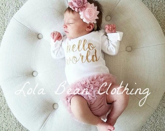Baby Girl Coming Home Outfit Newborn Hello World Bodysuit Bloomers Headband Set Dusty Rose Pink