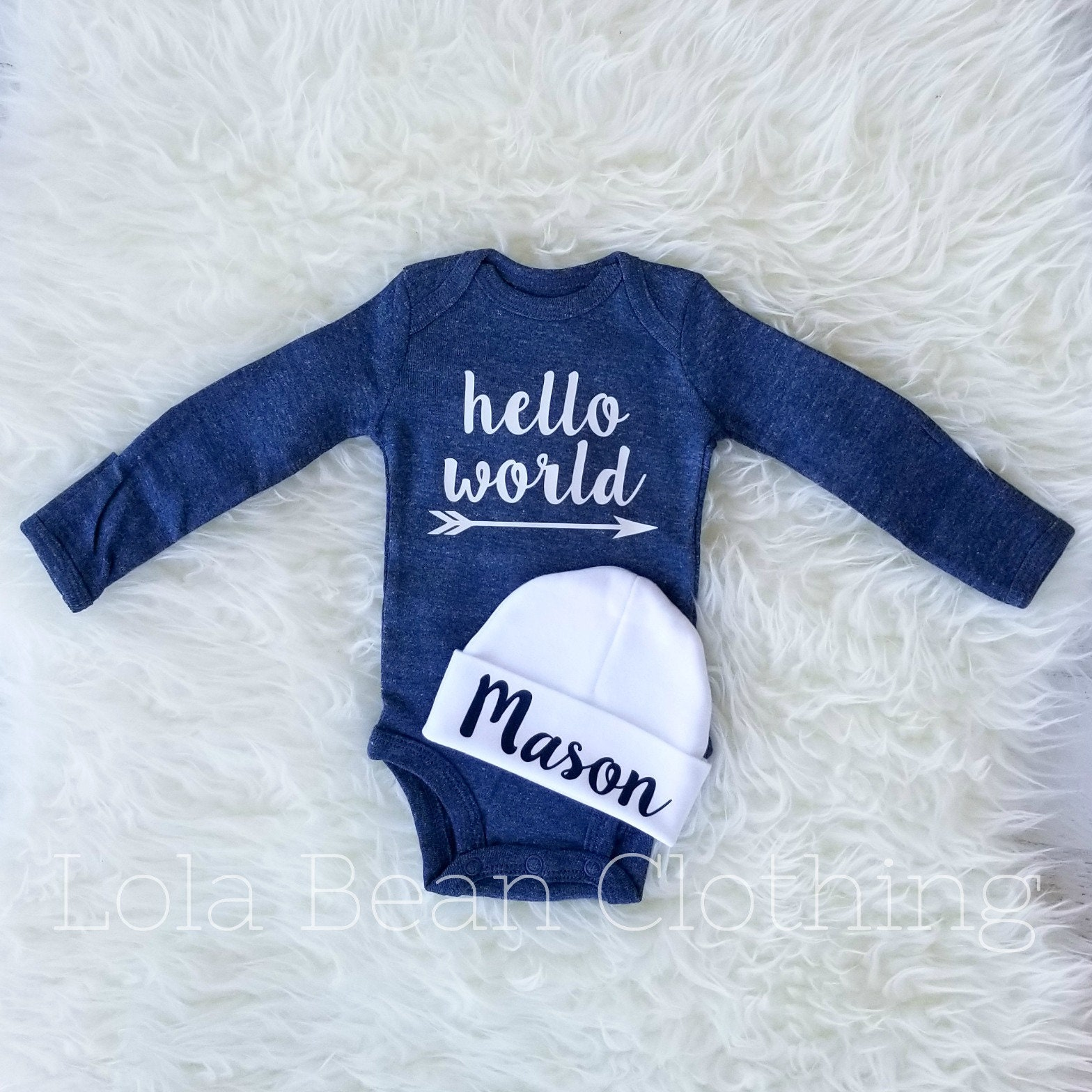 a13cbe408 Baby Boy, Baby Boy Coming Home Outfit, Hello World Outfit, Baby ...