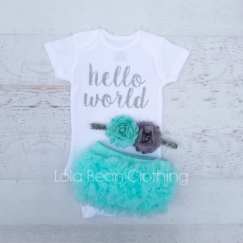 680229a28 Hello World Outfit Baby Girl Baby Girl Coming Home Outfit   Etsy