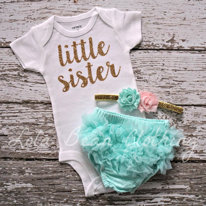 009825684e24 Baby Girl Take Home Outfit Newborn Little Sister Mint Bloomers
