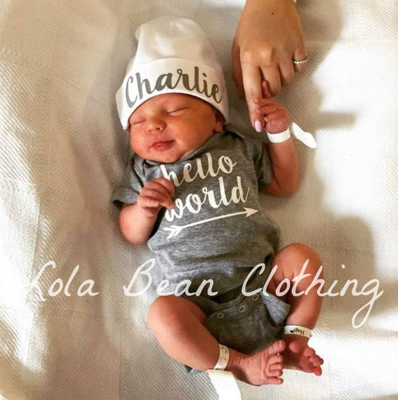 ccc69644220 Baby Boy Coming Home Outfit Newborn Hello World Bodysuit Grey Custom  Personalized Hat Beanie Take Home