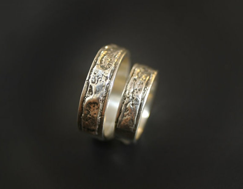 Let your Love Burn Wedding Ring Set Created from Fire & Bark image 0